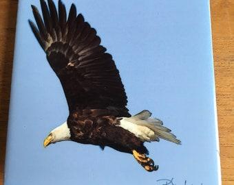 Ceramic Tile  - Winter Eagle Flying 4.25 in x 4.25 in