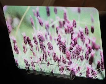 Lavender 2 Glass Cutting Boards - 10.75 in x 7.75 in