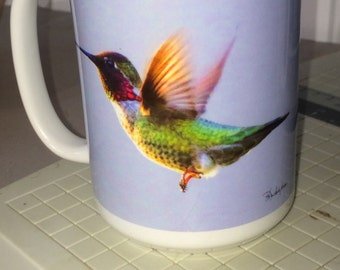 Anna's Hummingbird Flying Large Coffee Mug 15 Oz