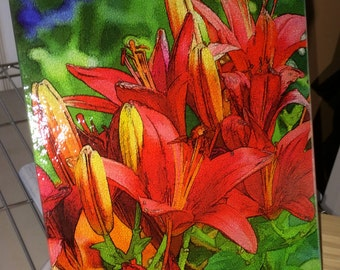 Glass Cutting Board - Red Asian Lily version 2 -   7.75 in  x 10.75 in