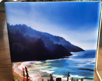 """Ceramic Tile  Heceta Shore Oregon Coast - 4.25"""" x 4.25"""""""