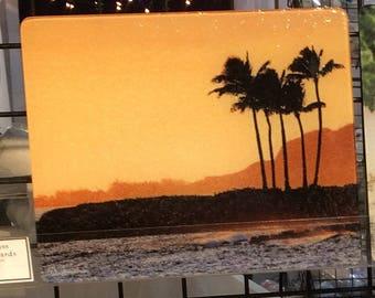 Hawaiian Sunset Large Glass Cutting Board 12 in x 15 in