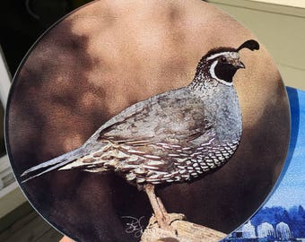 Quail - Round Glass Cutting Board, Cheese Board or Trivet -  8 in diameter (small)