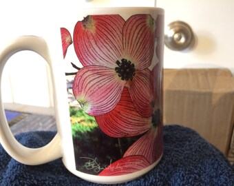 Pink Dogwood Art Large Coffee Mug 15 Oz
