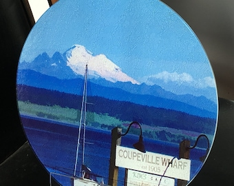 Round Glass Cutting Board Large - Coupeville, WA - 12 in diameter