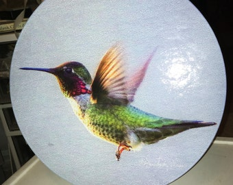 Round Glass Cutting Board Large - Anna's Hummingbird- 12 in diameter