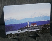 Glass Cutting Board - Lighthouse - Port Townsend 7.75in  x 10.75in