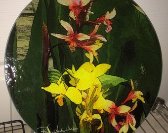 Canna Lilies  12in Glass Cutting board, Cheese board or Trivet