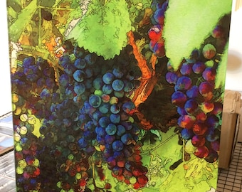 Glass Cutting Board Large - Grape Vine - 12 in  x 15 in