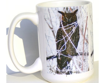 Owl Mug - Great Horned Owl - 15 oz Large Coffee Mug