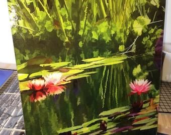 Glass Cutting Board Large - Pondscape - 12 in x 15 in