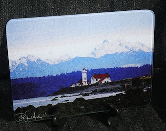 Large Glass Cutting Board - Lighthouse. Port Townsend - 12 in x 15 in