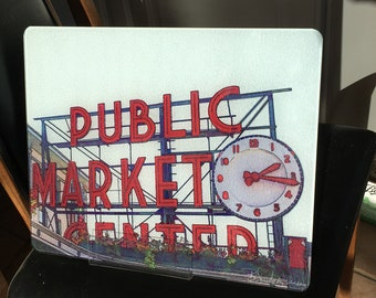Pike Place Market - Glass Cutting Board - 12 in x 15 in