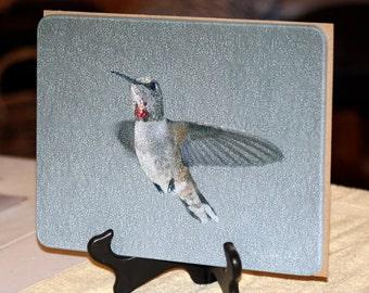 Glass Cutting Board - Rufous Hummingbird - 7.75in  x 10.75in