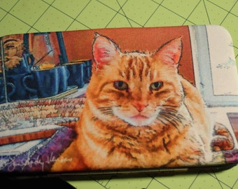 Flat Wallet Marmalade Cat- 7 3/16 x 4 1/2 in - Free Shipping