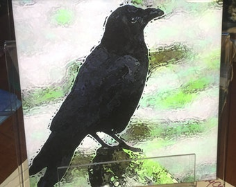 Decorative Tile - Crow 8 in x 8 in