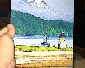 Gig Harbor Light - Glass Cutting Board - 7.75 in x 10.75 in