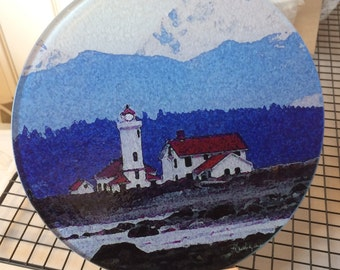 Round Glass Cutting Board - Lighthouse  Port Townsend  -  8 inch