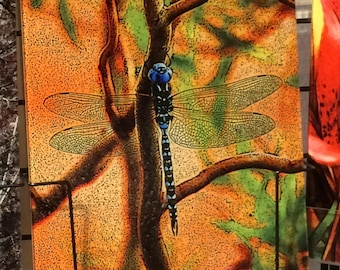 Glass Cutting Board - Blue Dragonfly - 7.75in  x 10.75in