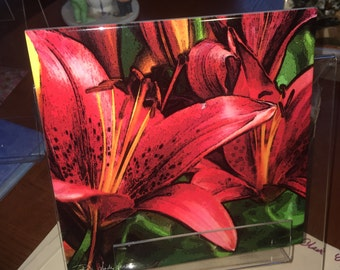 "Ceramic Tile  - Red Asian Lily 8"" x 8"""