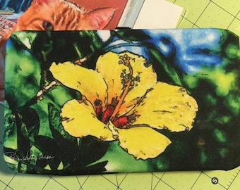 Flat Wallet Yellow Hibiscus - 7 3/16 x 4 1/2 in  - Free Shipping