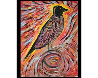 Sale - 10 Crow Power Blank Note Cards