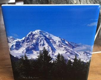 """Ceramic Tile or Coaster - Mount Rainier 4.25"""" x 4.25"""""""