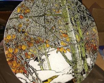 Winter Aspen - Large Round Glass Cutting Board -  12 in diameter