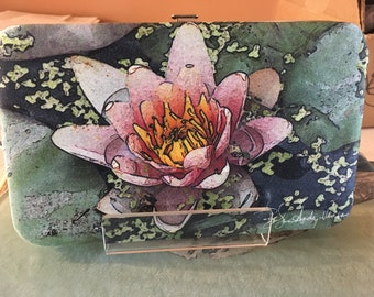 Flat Wallet Pink Lily- 7 3/16 x 4 1/2 in