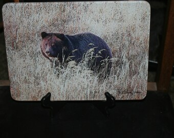 Glass Cutting Board - Grizzly Bear 7.75in  x 10.75in