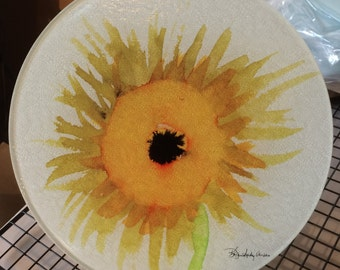 Round Glass Cutting Board - Sunflower  - 8 inch