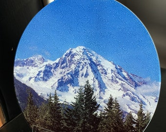 Round Glass Cutting Board Large - Mount Rainier - 12 in diameter