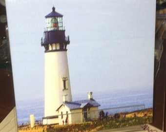 Decorative Tile - Yaquina Lighthouse 8 in x 8 in