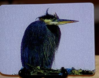 Glass Cutting Board - Great Blue Heron  7.75in  x 10.75in