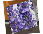 "Ceramic Tile or Coaster  - Lavender  4.25"" x 4.25"""