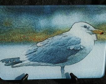 Glass Cutting Board - Gull 7.75in  x 10.75in