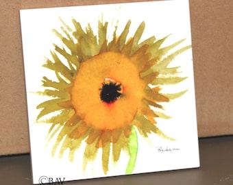 """Ceramic Tile - Sunflower 4.25"""" x 4.25"""""""