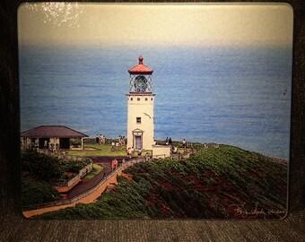Kilauea Lighthouse - Glass Cutting Board Large - 12 in x 15 in