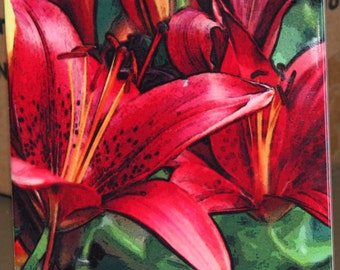 "Ceramic Tile - Red Asian Lily 4.25"" x 4.25"""