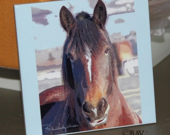 "Ceramic Tile - Horse 'Smiley'  4.25"" x 4.25"""