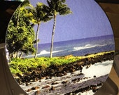 Hawaiian Beach - Large Round Glass Cutting Board - 12 in diameter