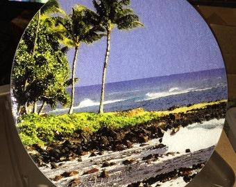 Hawaiian Beach - Large Round Glass Cutting Board - 12 in diameter