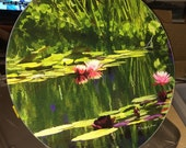 Round Glass Cutting Board Large - Pondscape - 12 in diameter
