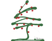 Sale!! - 10 Holiday Note Cards - Green Tree On Snow Blank Note cards