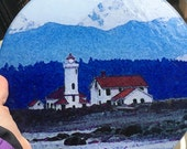Round Glass Cutting Board Large - Lighthouse - Port Townsend 12 in diameter