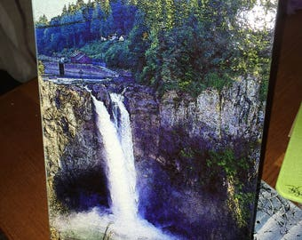 Snoqualmie Falls - Glass Cutting Board - 7.75 in  x 10.75 in