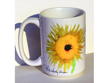 Sunflower Art Large Coffee Mug  15 Oz