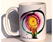 Crying Eyes Art Large Coffee Mug 15 Oz