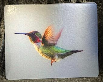 Anna's Hummingbird Flying Glass Cutting Board - 10.75in x 7.75in