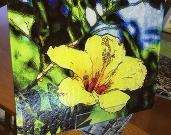 Yellow Hibiscus Large Glass Cutting Board - 12 in x 15 in